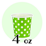 04 OZ PAPER DRINKING CUPS, POLKA DOT GREEN - 1,000 / CS