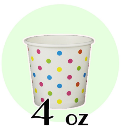 04 OZ PAPER DRINKING CUPS, Polka Dot Rainbow - 1,000 / CS - CarryOut Supplies