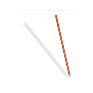 "GIANT PLASTIC 10""X8MM SMOOTHIE STRAW, PAPER WRAPPED, RED - 1,200 PCS/CS - (tem: 1440R) - CarryOut Supplies"