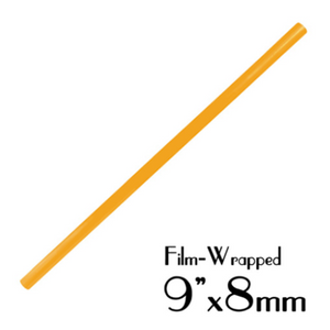 "PLASTIC 9""X8MM SMOOTHIE STRAWS, FILM WRAPPED, ORANGE - 2,000 PCS / CS - (Item: 1338O) - CarryOut Supplies"
