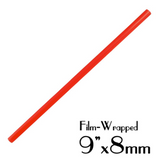 "PLASTIC 9""X8MM SMOOTHIE STRAWS, FILM WRAPPED, RED - 2,000 PCS / CS - (Item: 1338R)"