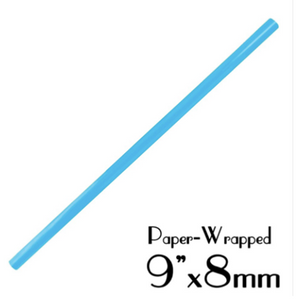 "PLASTIC 9""X8MM SMOOTHIE STRAWS, PAPER WRAPPED, BLUE - 2,000 PCS / CS - (Item: 1338BL) - CarryOut Supplies"