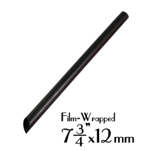 "PLASTIC 7.75""X12MM BOBA STRAW, FILM-WRAPPED, SOLID BLACK - 2,000 PCS / CS - (Item: 129287) - CarryOut Supplies"