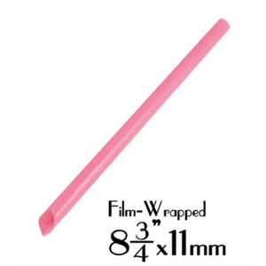 "PLASTIC 8.7""X11MM BOBA STRAW, FILM-WRAPPED, SOLID PINK - 2,000 PCS / CS - (Item: 110825) - CarryOut Supplies"