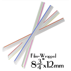 "PLASTIC 8.7""X12MM CLEAR W/STRIPES BOBA STRAWS, FILM-WRAPPED, ASSORTED COLORS - 2,000 PCS / CS - (Item: 129290) - CarryOut Supplies"