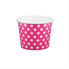 12 OZ. PAPER YOGURT CUPS, POLKA DOT PINK - 1,000 PCS/CS - (Item: 21264) - CarryOut Supplies