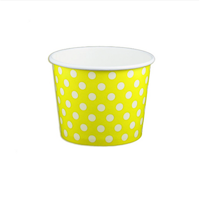 12 OZ. PAPER YOGURT CUPS, POLKA DOT YELLOW - 1,000 PCS/CS - (Item: 21266) - CarryOut Supplies
