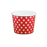 12 OZ. PAPER YOGURT CUPS, POLKA DOT RED - 1,000 PCS/CS - (Item: 21265)