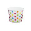 12 OZ. PAPER YOGURT CUPS, POLKA DOT RAINBOW - 1,000 PCS/CS - (Item: 21269) - CarryOut Supplies