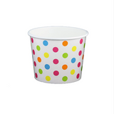 12 OZ. PAPER YOGURT CUPS, POLKA DOT RAINBOW - 1,000 PCS/CS - (Item: 21269)