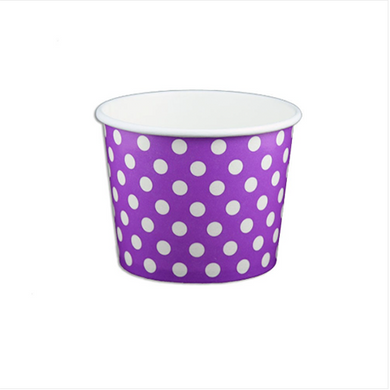 12 OZ. PAPER YOGURT CUPS, POLKA DOT PURPLE - 1,000 PCS/CS - (Item: 21267) - CarryOut Supplies