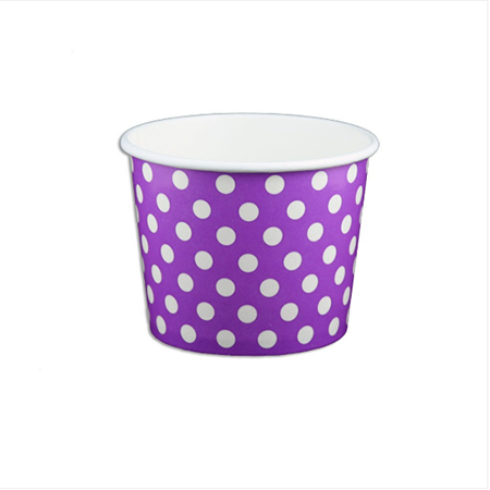 12 OZ. PAPER YOGURT CUPS, POLKA DOT PURPLE - 1,000 PCS/CS - (Item: 21267)