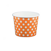 12 OZ. PAPER YOGURT CUPS, POLKA DOT ORANGE - 1,000 PCS/CS - (Item: 21263) - CarryOut Supplies
