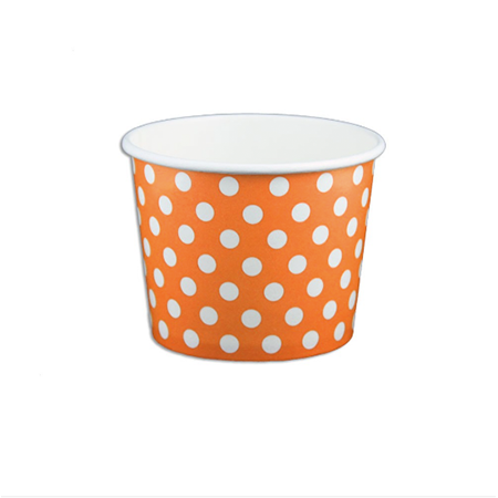 12 OZ. PAPER YOGURT CUPS, POLKA DOT ORANGE - 1,000 PCS/CS - (Item: 21263)