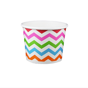 12 OZ. PAPER YOGURT CUPS, CHEVRON PRINT RAINBOW - 1,000 / CS - (Item: 21289) - CarryOut Supplies