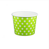 12 OZ. PAPER YOGURT CUPS, POLKA DOT LIME GREEN - 1,000 PCS/CS - (Item: 21262) - CarryOut Supplies