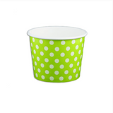 12 OZ. PAPER YOGURT CUPS, POLKA DOT LIME GREEN - 1,000 PCS/CS - (Item: 21262)