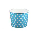 12 OZ. PAPER YOGURT CUPS, POLKA DOT BLUE - 1,000 PCS/CS - (Item: 21261)
