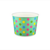 12 OZ. PAPER YOGURT CUPS, POLKA DOT AQUA RAINBOW - 1,000 PCS/CS - (Item: 21270) - CarryOut Supplies