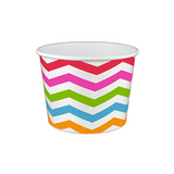 16 OZ. PAPER YOGURT CUPS, CHEVRON PRINT RAINBOW - 1,000 / CS - (Item: 21689)