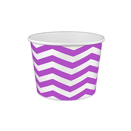 16 OZ. PAPER YOGURT CUPS, CHEVRON PRINT PURPLE - 1,000 PCS/CS - (Item: 21686) - CarryOut Supplies