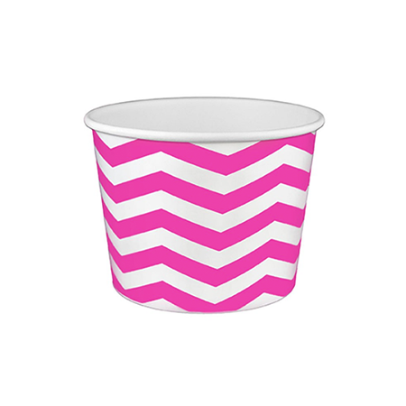 16 OZ. PAPER YOGURT CUPS, CHEVRON PRINT PINK- 1,000 / CS - (Item: 21685) - CarryOut Supplies