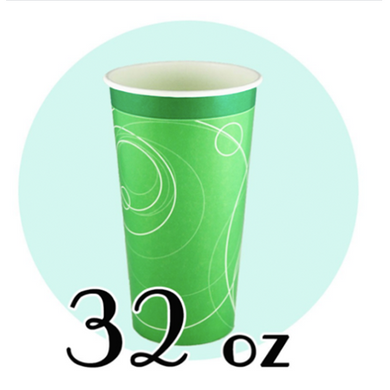 32 OZ PAPER SODA CUPS, RIPPLE GREEN - 500 / CS - (Item: 	D0732) - CarryOut Supplies