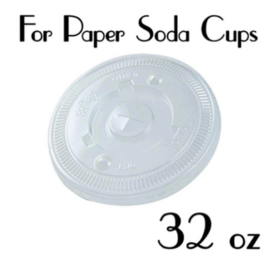 32 OZ. PET PLASTIC FLAT LIDS FOR PAPER SODA CUPS, CLEAR - 600 PCS/CS - (Item: D0799) - CarryOut Supplies