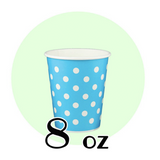 8 OZ. PAPER DRINKING CUPS, POLKA DOT BLUE - 1,000 PCS/CS - (Item: 35208)