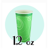 12 OZ. PAPER SODA CUPS, RIPPLE GREEN - 1,000 PCS/CS *NO LIDS AVAILABLE*