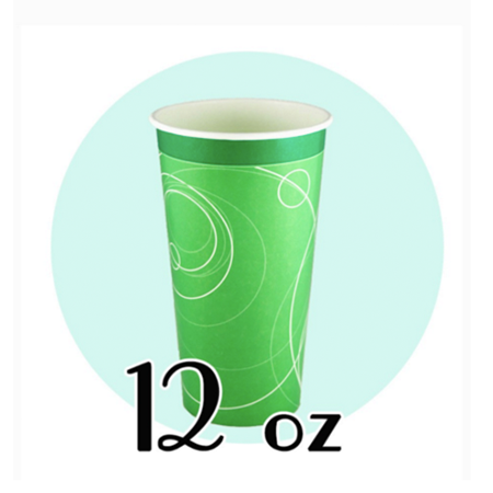 12 OZ. PAPER SODA CUPS, RIPPLE GREEN - 1,000 PCS/CS *NO LIDS AVAILABLE* - (Item: D0712)