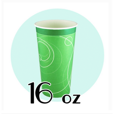 16 OZ PAPER SODA CUPS, RIPPLE GREEN - 1,000 / CS - (Item: D0716) - CarryOut Supplies