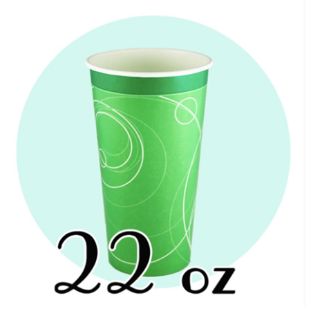 22 OZ. PAPER SODA CUPS, RIPPLE GREEN - 1,000 PCS/CS - (Item: D0722)