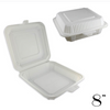 "8"" ECO-FRIENDLY CLAMSHELL 1-COMPT. TAKE-OUT BOX, BEIGE - 150 / CS - (Item: 5211) - CarryOut Supplies"