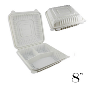 "8"" ECO-FRIENDLY CLAMSHELL 3-COMPT. TAKE-OUT BOX, BEIGE - 150 / CS - (Item: 53288-3) - CarryOut Supplies"