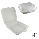 "9"" ECO-FRIENDLY CLAMSHELL 1-COMPT. TAKE-OUT BOX, BEIGE - 150 / CS - (Item: 5213)"