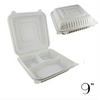 "9"" ECO-FRIENDLY CLAMSHELL 3-COMPT. TAKE-OUT BOX, BEIGE - 150 / CS - (Item: 5214) - CarryOut Supplies"