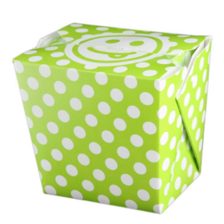 16 OZ PAPER POLKA DOT TAKE OUT BOX, GREEN - 400 / CS - (Item: 8016GRN)
