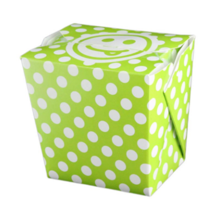 26 OZ PAPER POLKA DOT TAKE OUT BOX, GREEN - 400 / CS - (Item: 8026GRN) - CarryOut Supplies