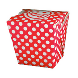 26 OZ PAPER POLKA DOT TAKE OUT BOX, RED - 400 / CS - (Item: 8026RED)
