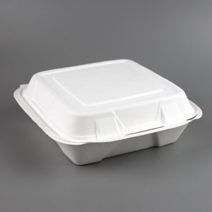 "9"" X 9"" 1 COMPT COMPOSTABLE BAGASSE TAKEOUT BOX, WHITE - 200/CS - (item code: 53099-1) - CarryOut Supplies"
