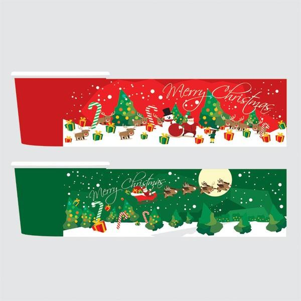 PAPER YOGURT CUP 16 OZ. ( SEASONAL SERIES FESTIVE CHRISTMAS ) - CarryOut Supplies