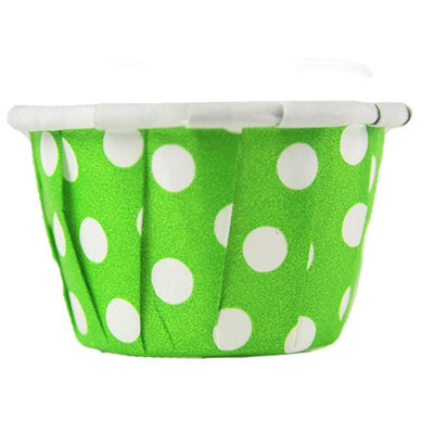 0.5 OZ PAPER SOUFFLÉ / PORTION CUP, GREEN W/DOTS - 5000CT - (ITEM: 380562) - CarryOut Supplies