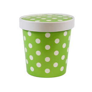 16 OZ. ICE CREAM CONTAINER WITH PAPER LID, POLKA DOT GREEN - 250 SETS/CS - (Item: 250161) - CarryOut Supplies