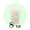 08 OZ PAPER DRINKING CUPS, POLKA DOT RAINBOW - 1,000/CS - (Item: 35089) - CarryOut Supplies