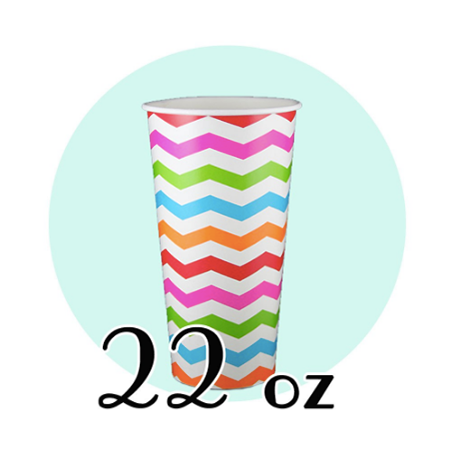 22 OZ PAPER SODA CUPS, CHEVRON PRINT - 1,000/CS - (Item: D22) - CarryOut Supplies