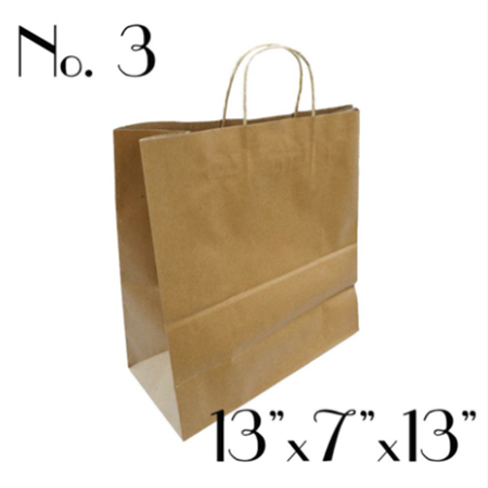 #3 KRAFT PAPER BAG WITH ROUND HANDLE - 250 BAGS / CS
