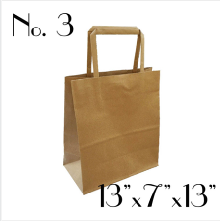 #3 KRAFT PAPER BAG WITH FLAT HANDLE - 250 BAGS / CS