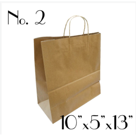 #2 KRAFT PAPER BAG WITH ROUND HANDLE - 250 BAGS / CS