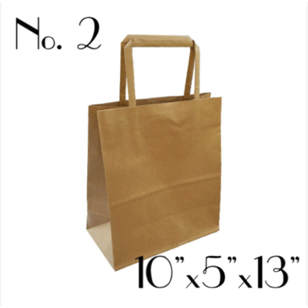 #2 KRAFT PAPER BAG WITH FLAT HANDLE - 250 BAGS / CS